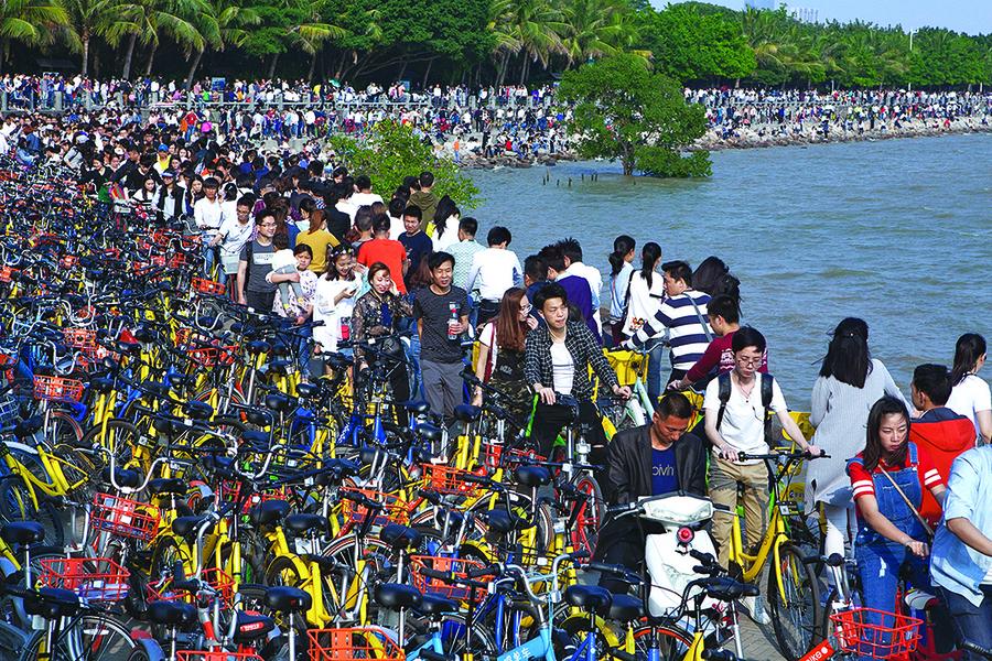 萬輛共享單車湧深圳灣公園