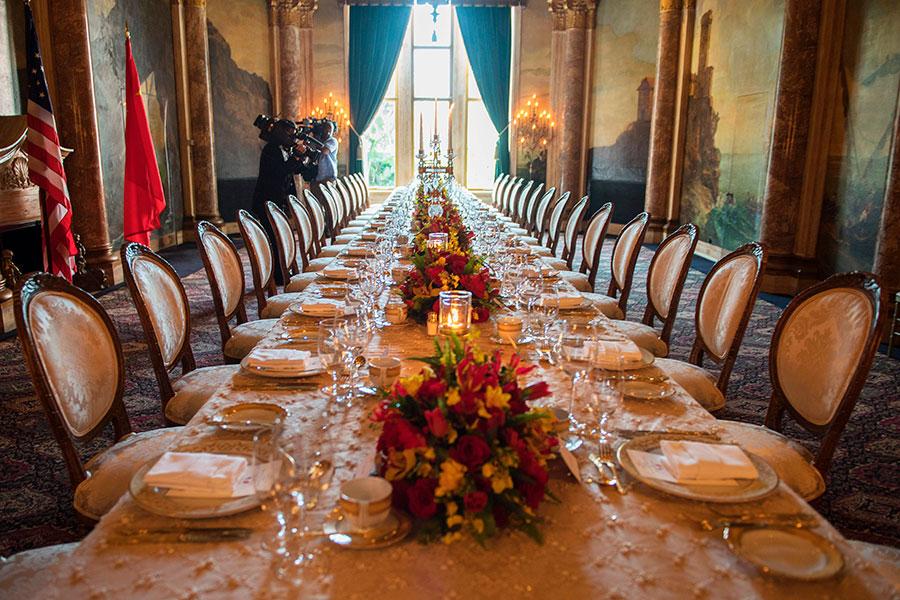 特朗普招待習近平的宴客廳。(JIM WATSON/AFP/Getty Images)