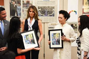 中美第一夫人參觀藝術學校 華裔學生出席