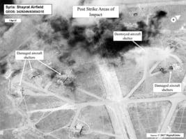 敘利亞空軍基地遭美空襲後 衛星照曝光
