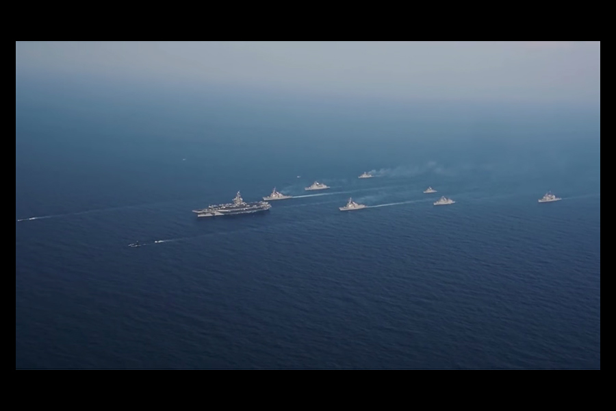 美國海軍卡爾文森航母戰鬥群將前往西太平洋,向朝鮮半島附近海域靠近,以展示美國的軍力。(視像擷圖)