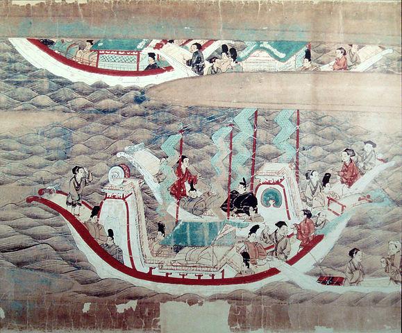 從653年起,十六年中日本六次派出遣唐使(其中遇難一次),學習盛唐文化。(公有領域)