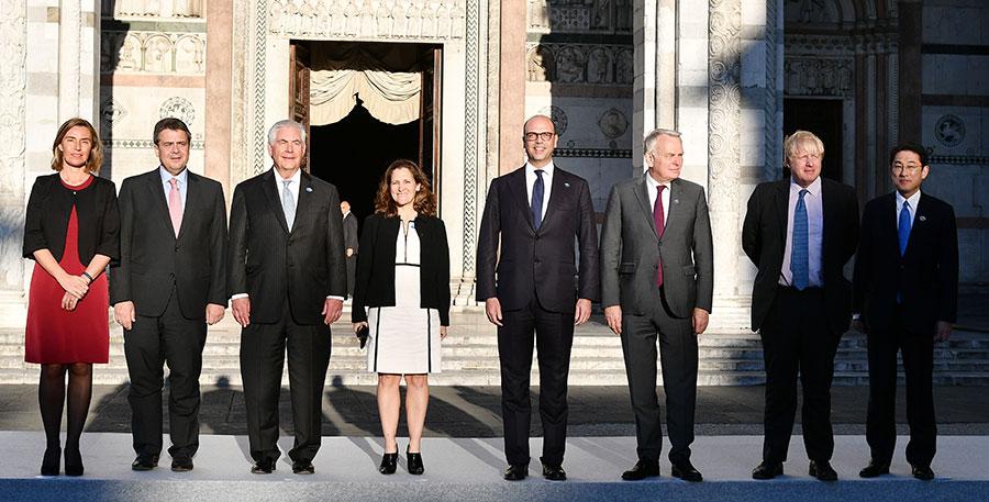 七大工業國(G7)外長周一(10日)聚集在意大利盧卡市(Lucca),舉行為期兩天的年度會議。(VINCENZO PINTO/AFP/Getty Images)
