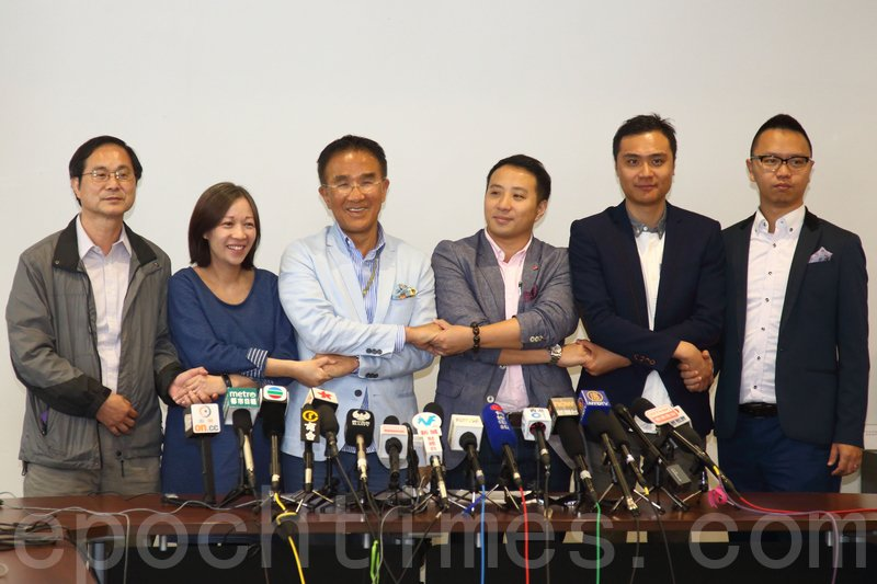 田北辰昨日聯同5區議員召開新聞發佈會,宣佈退出新民黨。(李逸/大紀元)