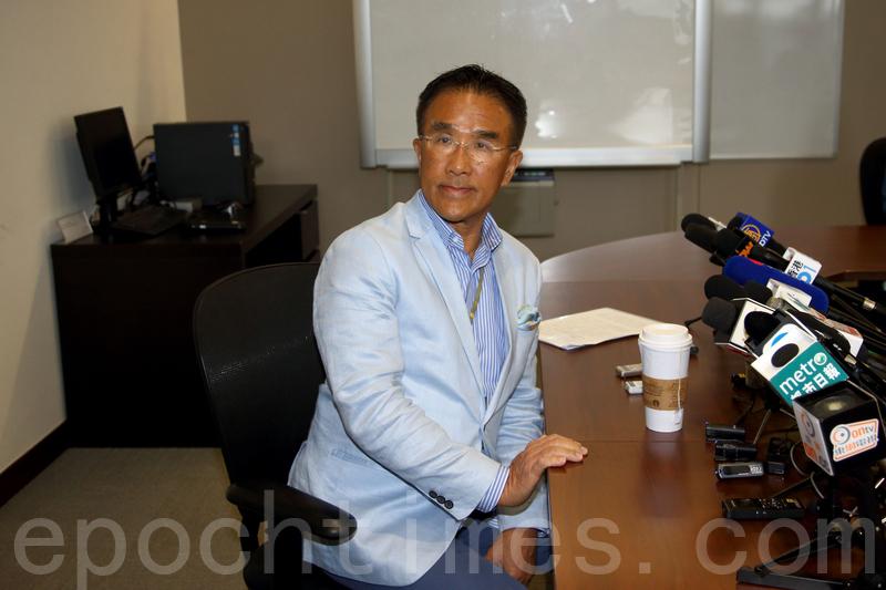 田北辰表示,早在2015年初提出一簽多行封頂時,發現與葉劉理念有分歧,開始想退黨。(李逸/大紀元)