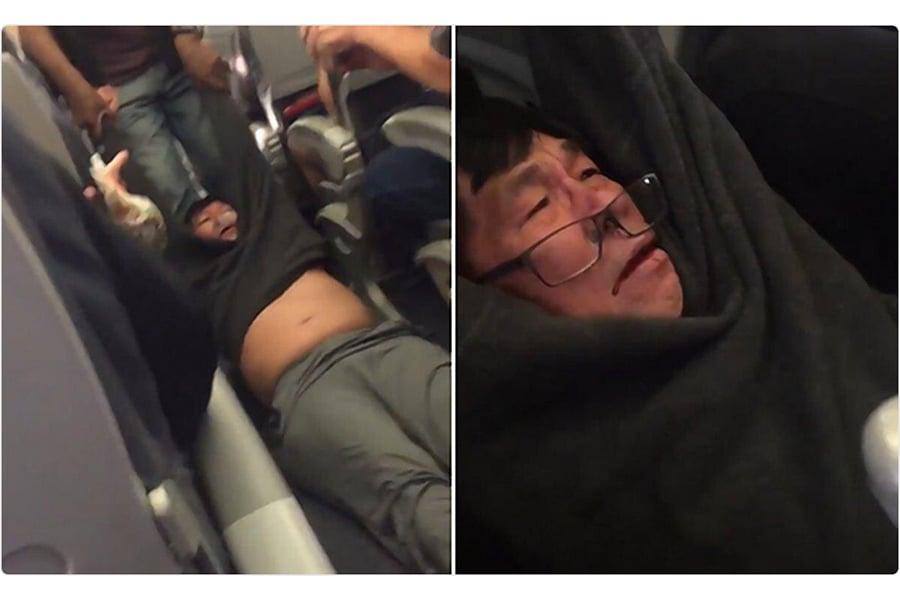 在本月聯合航空拖人事件當中,拖人下飛機的航空警員聲稱,被拖的醫生罵人又打人,揮舞雙臂,失去平衡,將自己的嘴巴撞到椅子扶手。(視像擷圖)