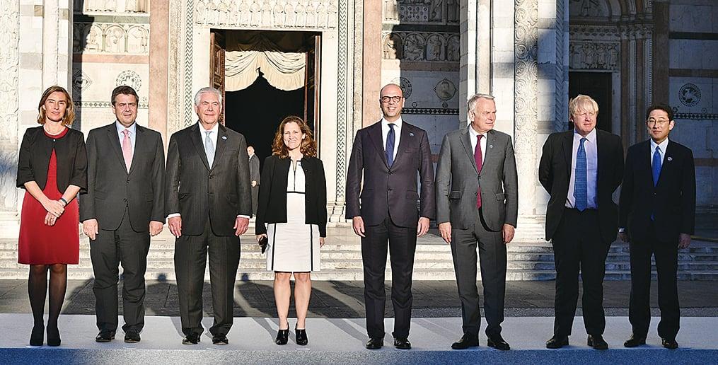 七大工業國(G7)外長周一(10日)聚集在意大利盧卡市(Lucca),舉行為期兩天的年度會議。(AFP)