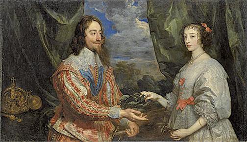 安東尼‧凡‧戴克(1599–1641),《拿桂冠的查理一世和瑪麗亞‧亨麗埃塔》局部,1632年作,布面油畫,紐約弗里克收藏館藏。(Courtesy of The Frick Collection)