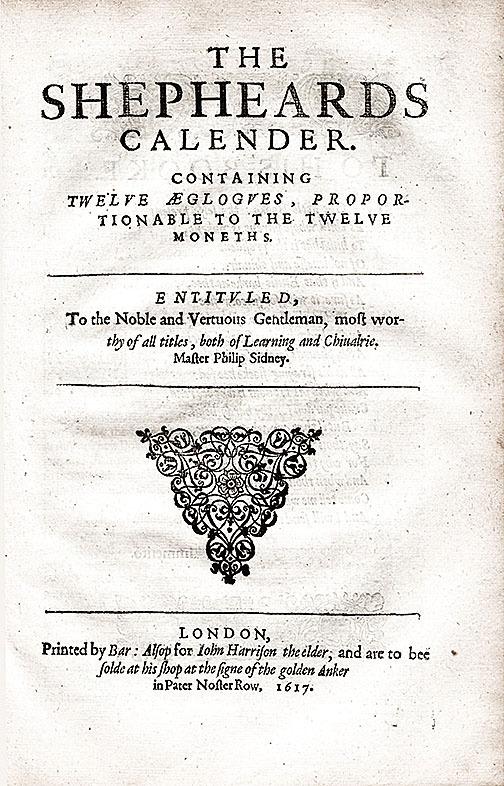 馬修•萊恩斯(Matthew Lownes) 出版的《牧人月曆》(The Shepherd's Calendar) 1617版的標題頁,經常與1611年或1617年出版的完整作品結合(維基百科)