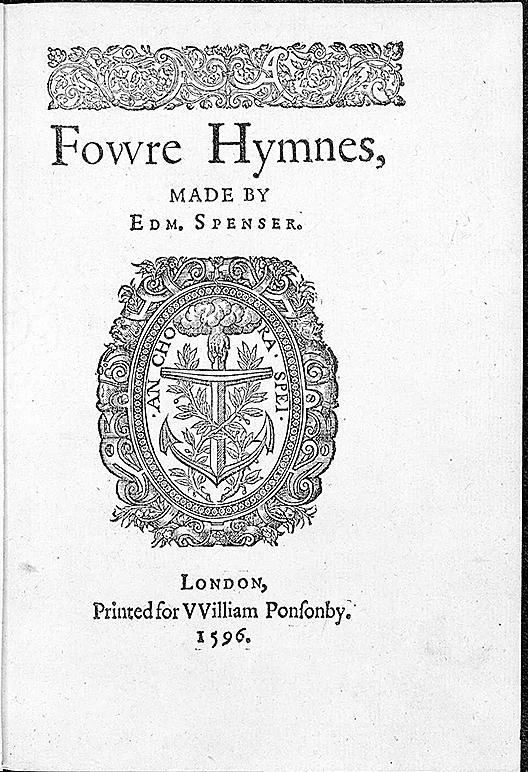 埃德蒙•斯賓塞另一作品(Fowre Hymnes),1596年印刷。(維基百科)