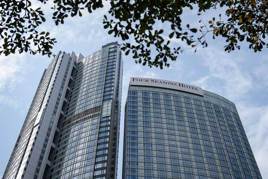 香港四季酒店內部豪華,大陸不少被調查的人曾入住,酒店內被指「隱藏了中國一半的秘密」。(Anthony WALLACE/AFP)