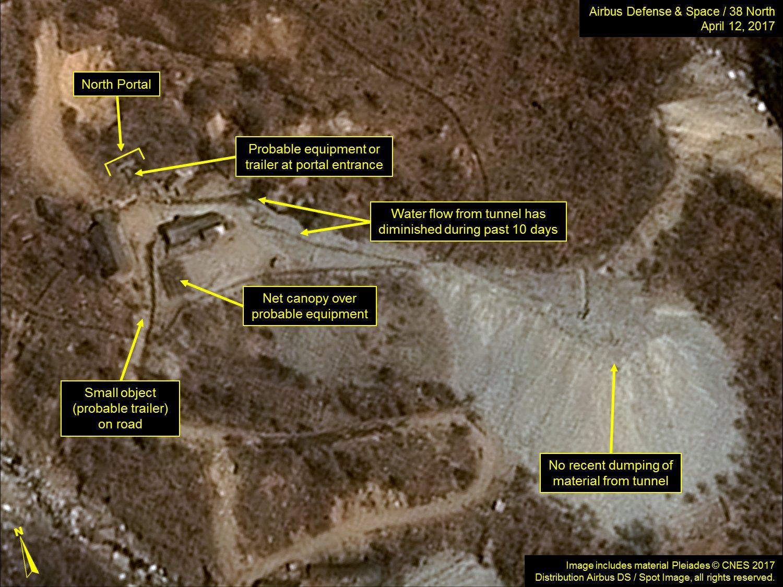 北韓豐溪里核試驗場衛星地圖。(來源:38 North)