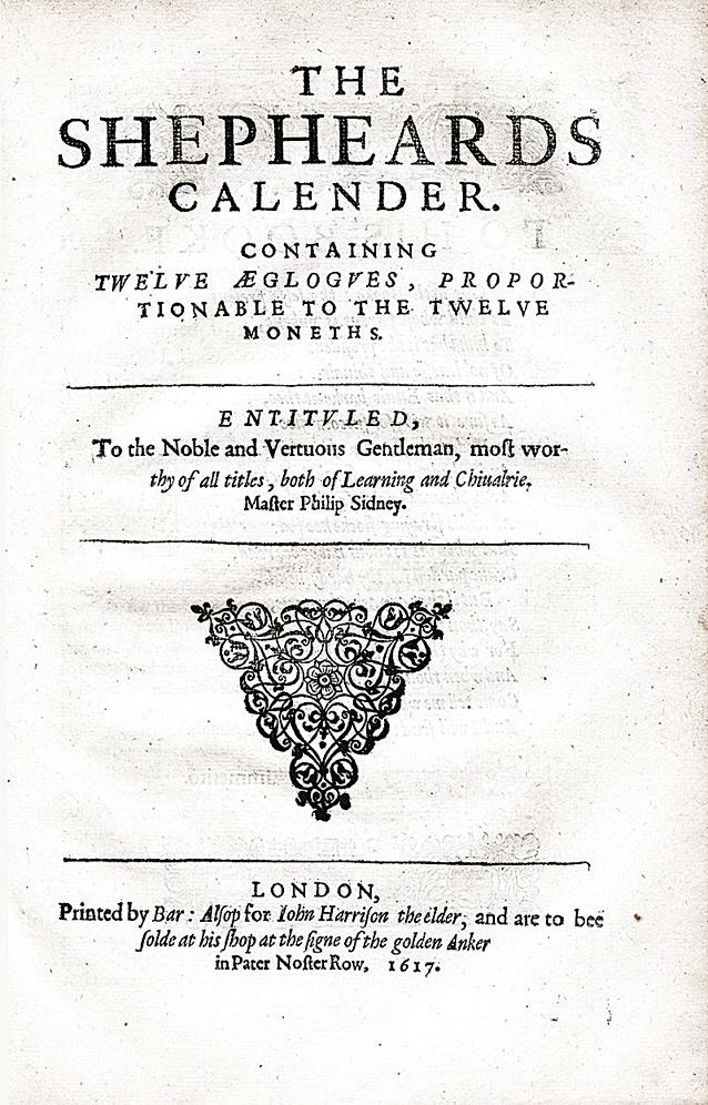 《牧人月曆》(The Shepherd's Calendar) 1617版的標題頁,經常與1611年或1617年出版的完整作品結合。