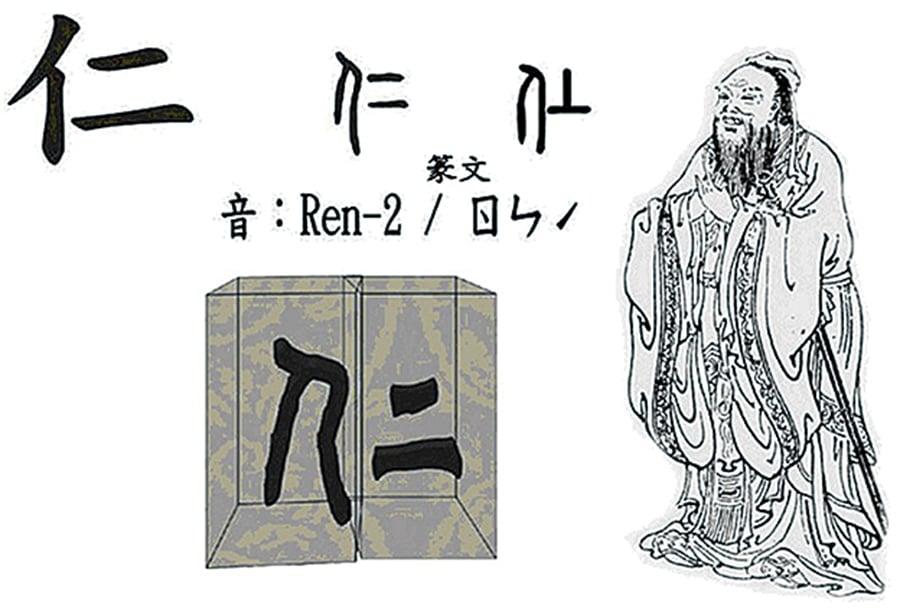 孔子儒家學說的核心是「仁」字,左邊「亻」旁表明指人,「二」在甲骨文就是「上」字;所以「孔子在教人,怎麼做上等的人」。(大紀元資料庫)