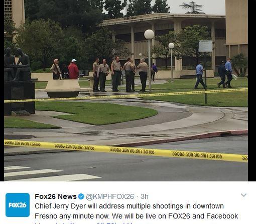 周二(4月18日),美國加州發生一宗槍擊事件。警方表示,一名男子在加州弗雷斯諾(Fresno)市中心開槍掃射,導致三人遇害。(視像擷圖)