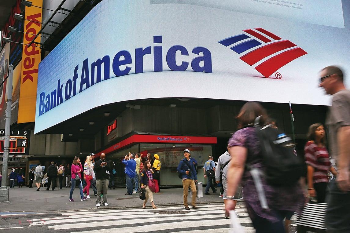 全美第二大銀行美國銀行(BOA)首季營收激增40%至224.5億美元,同時淨利也激增44%達43.5億美元,每股盈餘41美分,優於分析師預期的35美分。(Getty Images)