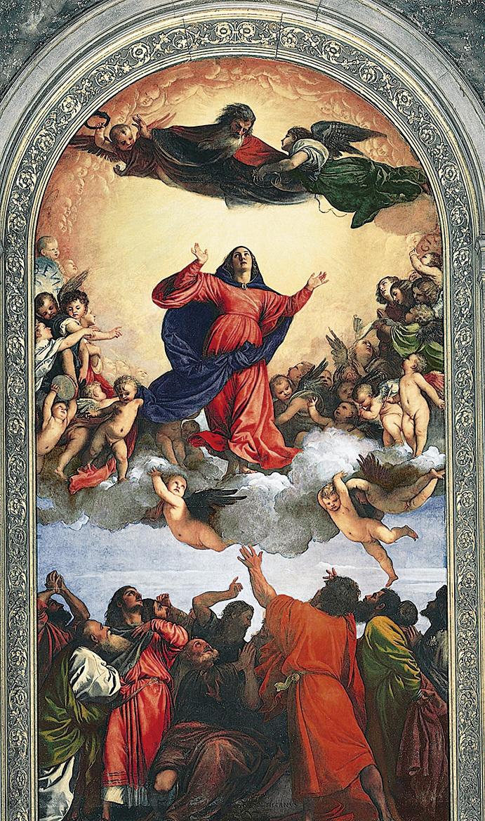 《聖母升天 》,提香作品,板面油畫 ,威尼斯聖方濟各會榮耀聖母聖殿收藏。(維基百科)