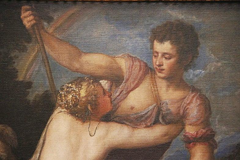 《維納斯和阿多尼斯》局部,照片裏面可以看到提香是如何去表現維納斯的焦慮心情,和阿多尼斯不以為意的表情。(行雲提供)