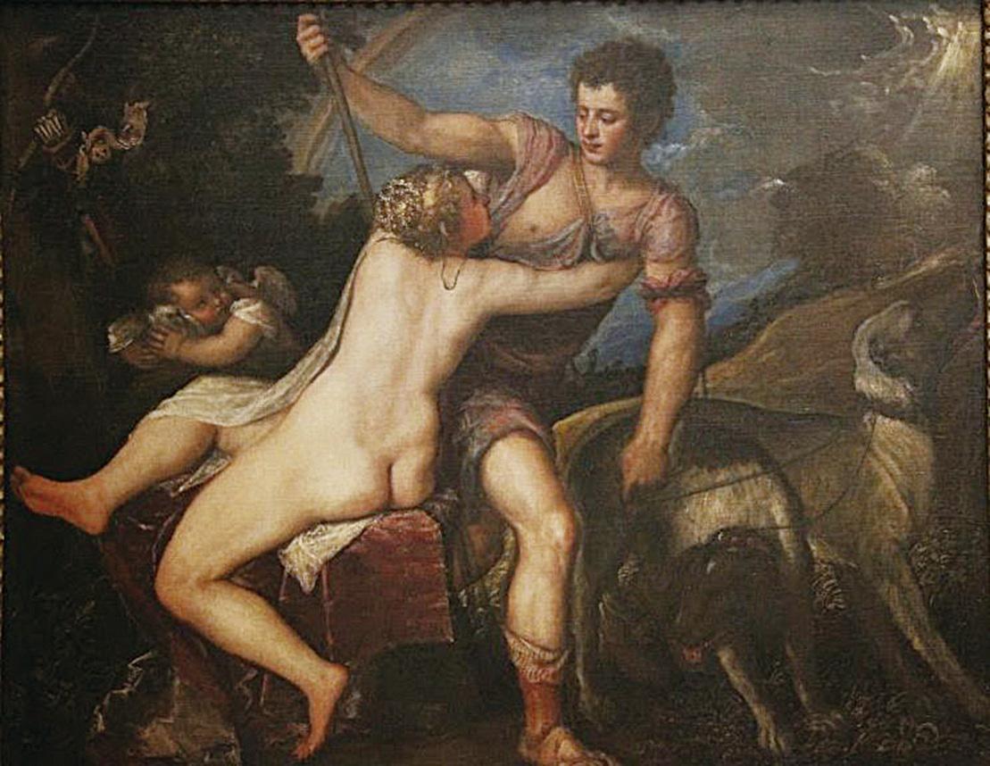 《維納斯和阿多尼斯》,提香作品,收藏於紐約市大都會美術館。(行雲提供)