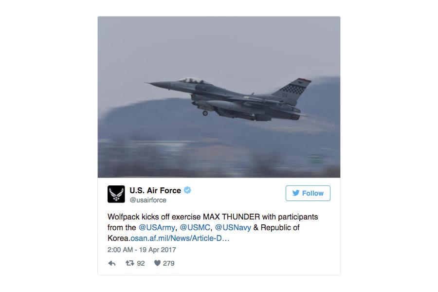 美韓兩國空軍為遏制北韓挑釁,投入100多架飛機實施代號為「超級雷霆」(Max Thunder 17)的大規模空中作戰演習。(美國空軍推特截圖)