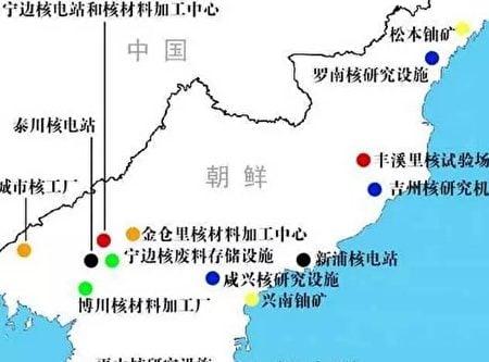 北韓的核試基地,基本沿中朝邊境展開。(網絡圖片)