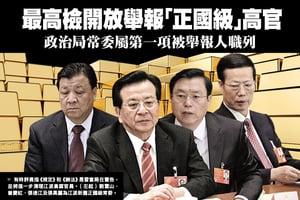 最高檢開放舉報「正國級」高官 政治局常委屬第一項被舉報人職列