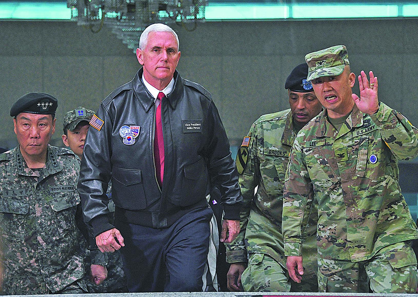 4月17日,美國副總統彭斯在南韓訪問,商討應對朝鮮半島局勢。(Getty Images)