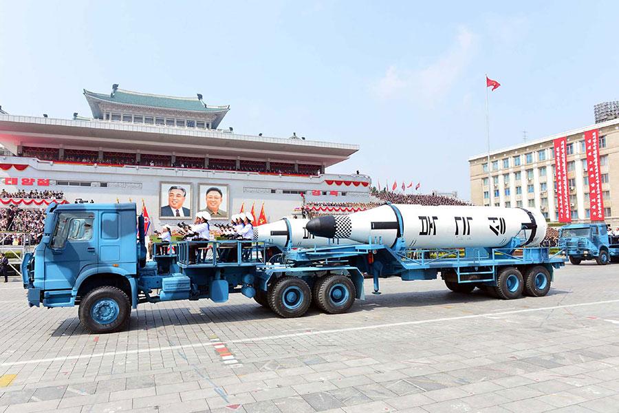 北極星潛射導彈。(STR/AFP/Getty Images)