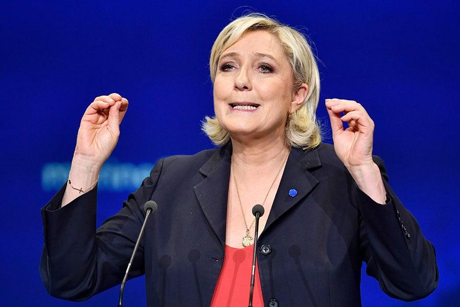 法國極右派政黨民族陣線(FN)主席瑪琳勒龐於5月初競選總統落敗,她今天宣佈,決定參加6月的國會議員選舉。(Jeff J Mitchell/Getty Images)