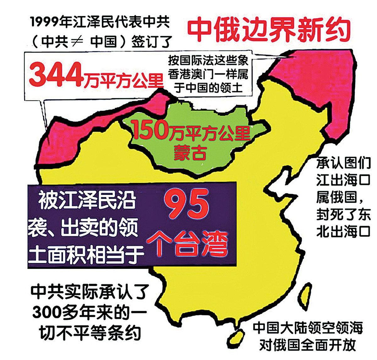 江澤民與俄國簽訂議定書、條約,被江澤民沿襲出賣的領土面積相當於95個台灣的中國土地拱手給了俄國。(明慧網)
