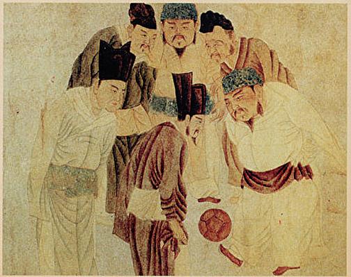 元錢選《宋太祖蹴鞠圖》(公有領域)