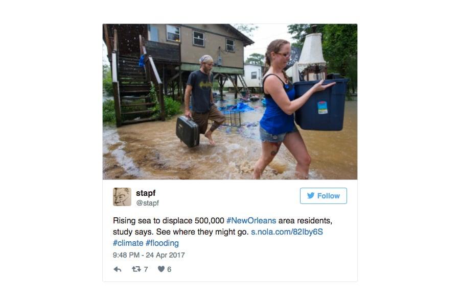 國家氣象局說,隨著暴風雨向東北方向緩慢推進,將近600萬人或受威脅。(推特擷圖)
