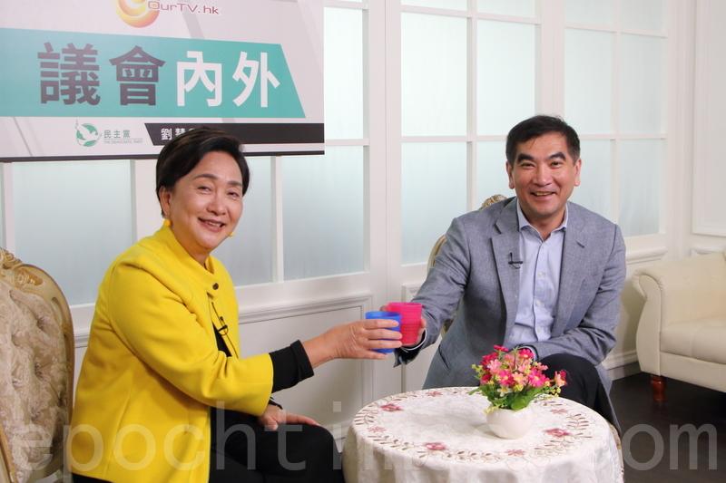 鍾國斌昨日出席民主黨前主席劉慧卿網台節目。(蔡雯文/大紀元)