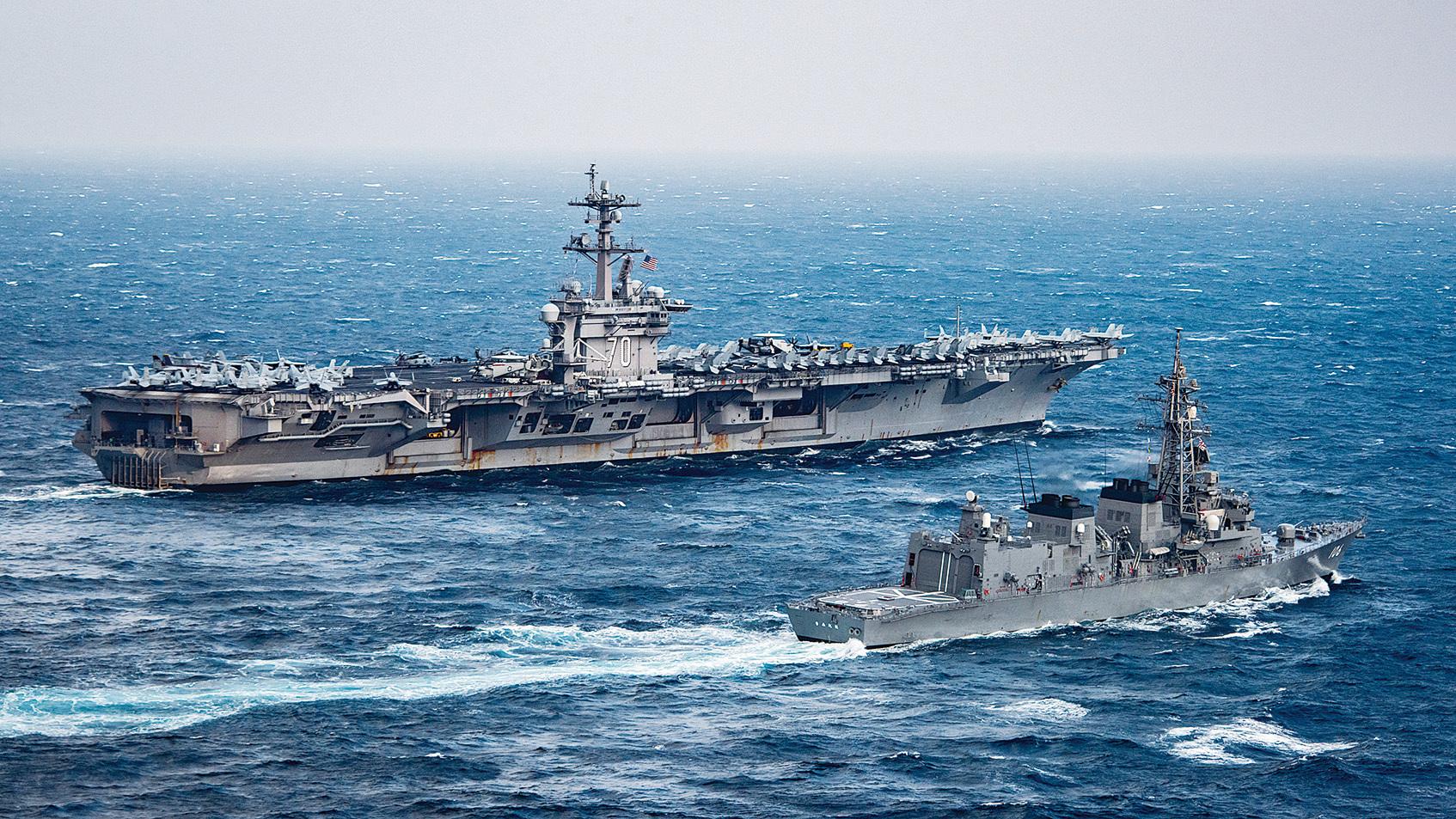 中國放棄反美的國策,意在加速棄共的步伐。圖為北韓再度核試之際,駛向朝鮮海域的美國卡爾‧文森號(USS Carl Vinson)航母戰鬥群。(US Navy)