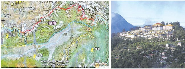 印度1987年將中共奪而復棄的藏南地區設為阿魯納恰爾邦(圖左),該地面積相當於一個江蘇省,並將藏傳佛教的中心的達旺,(圖右)納入版圖。圖為達旺寺(網絡圖片)