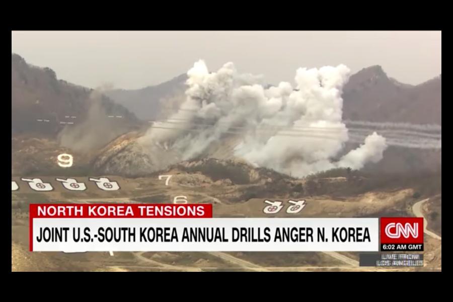 美軍和韓軍在北韓邊境附近舉行聯合實彈演習。(YouTube視像擷圖)