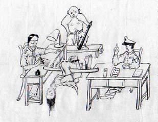 中共使用的其中一種酷刑「穿心槓」示範圖。(明慧網)