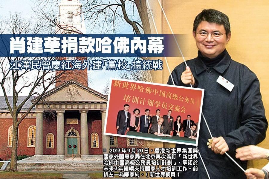 2013年9月20日,香港新世界集團與國家外國專家局在北京再次簽訂「新世界哈佛中國高級公務員培訓計劃」,承諾於未來3年繼續支持國家人才培訓工作。前排左一為鄭家純。(新世界網頁)