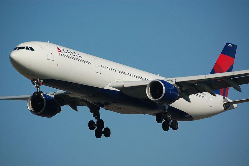 美國多個大媒體相繼爆出4月18日乘坐達美航班的一名乘客,因在飛機起飛前緊急去廁所而被趕下飛機。(維基百科公有領域)