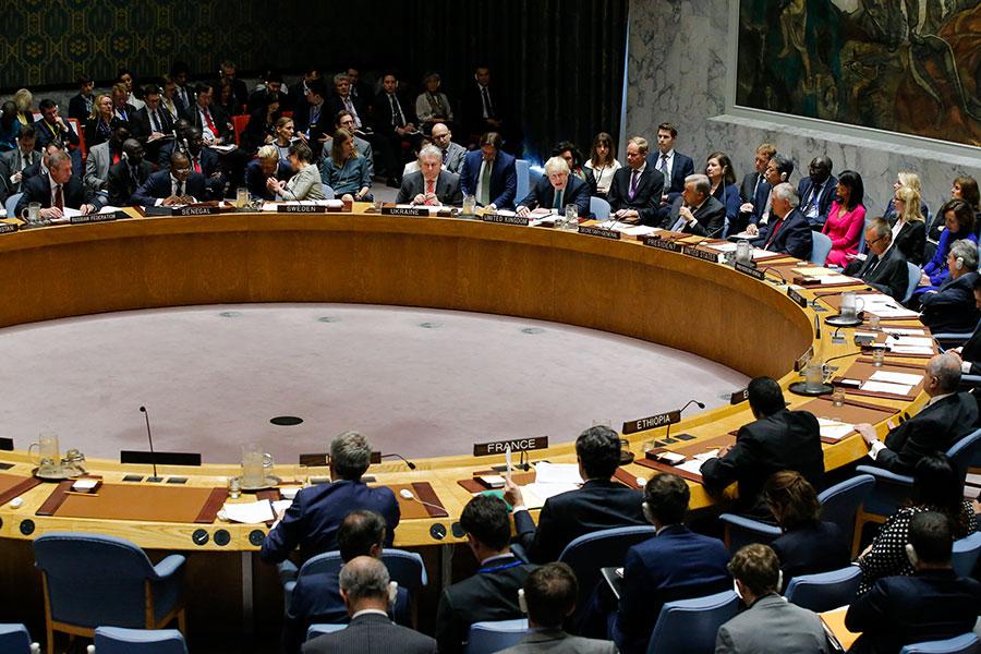 聯合國安理會周五(4月28日)召開北韓核問題部長級會議,本次會議沒有通過新決議,僅是由各國討論對北韓導彈和核試驗的看法及應對措施。(Eduardo Munoz Alvarez/Getty Images)