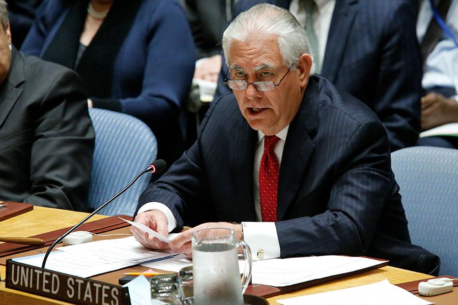 美國國務卿蒂勒森(Rex Tillerson)28日主持聯合國安理會部長級會。(Eduardo Munoz Alvarez/Getty Images)