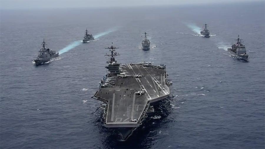 美航母群入朝鮮半島 下達命令兩小時內即可打擊