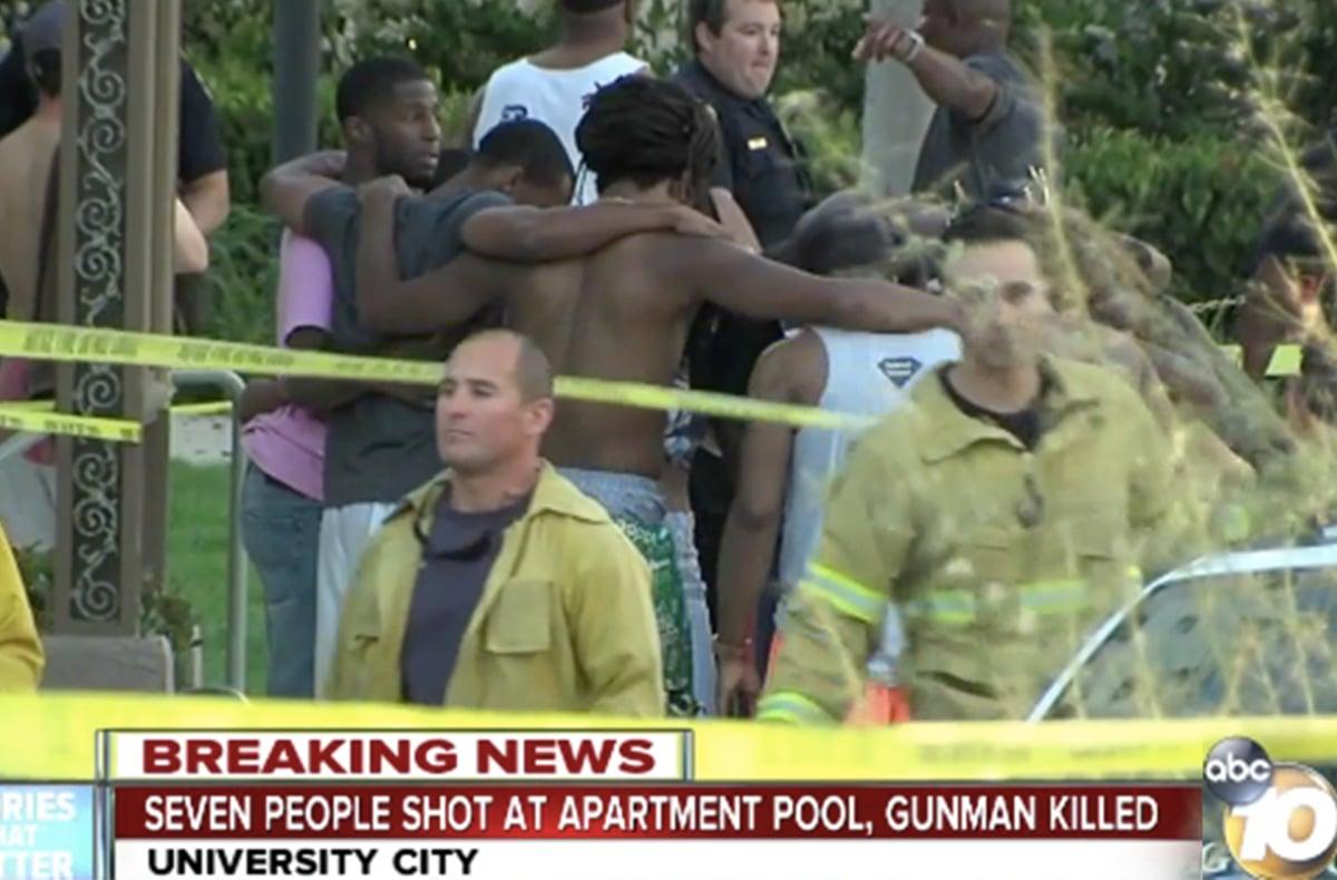 4月30日周日傍晚6時,加州聖地亞哥大學城Cross Road宿舍游泳池發生槍擊案,正值一場生日派對舉行之時,造成1死7傷,槍手也被擊斃。(ABC10電視擷圖)