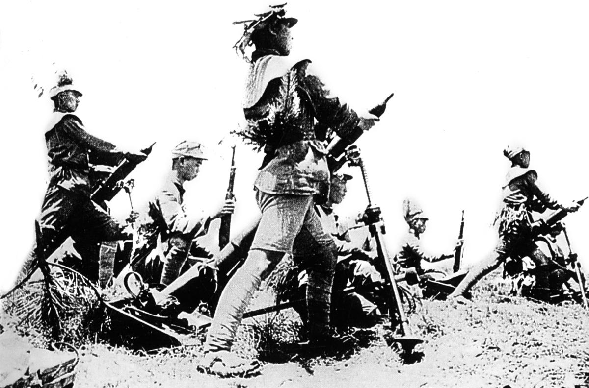 1938年秋武漢會戰期間,國軍的迫擊砲陣地。(維基百科)