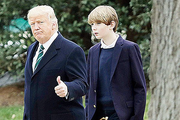 特朗普小兒子巴倫的網絡走紅程度不亞於父親。(Getty Images)