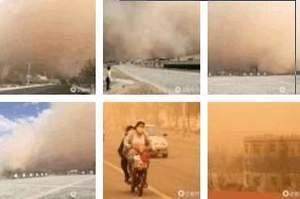 內蒙古新疆沙塵暴肆虐 百米沙墻遮天蔽日