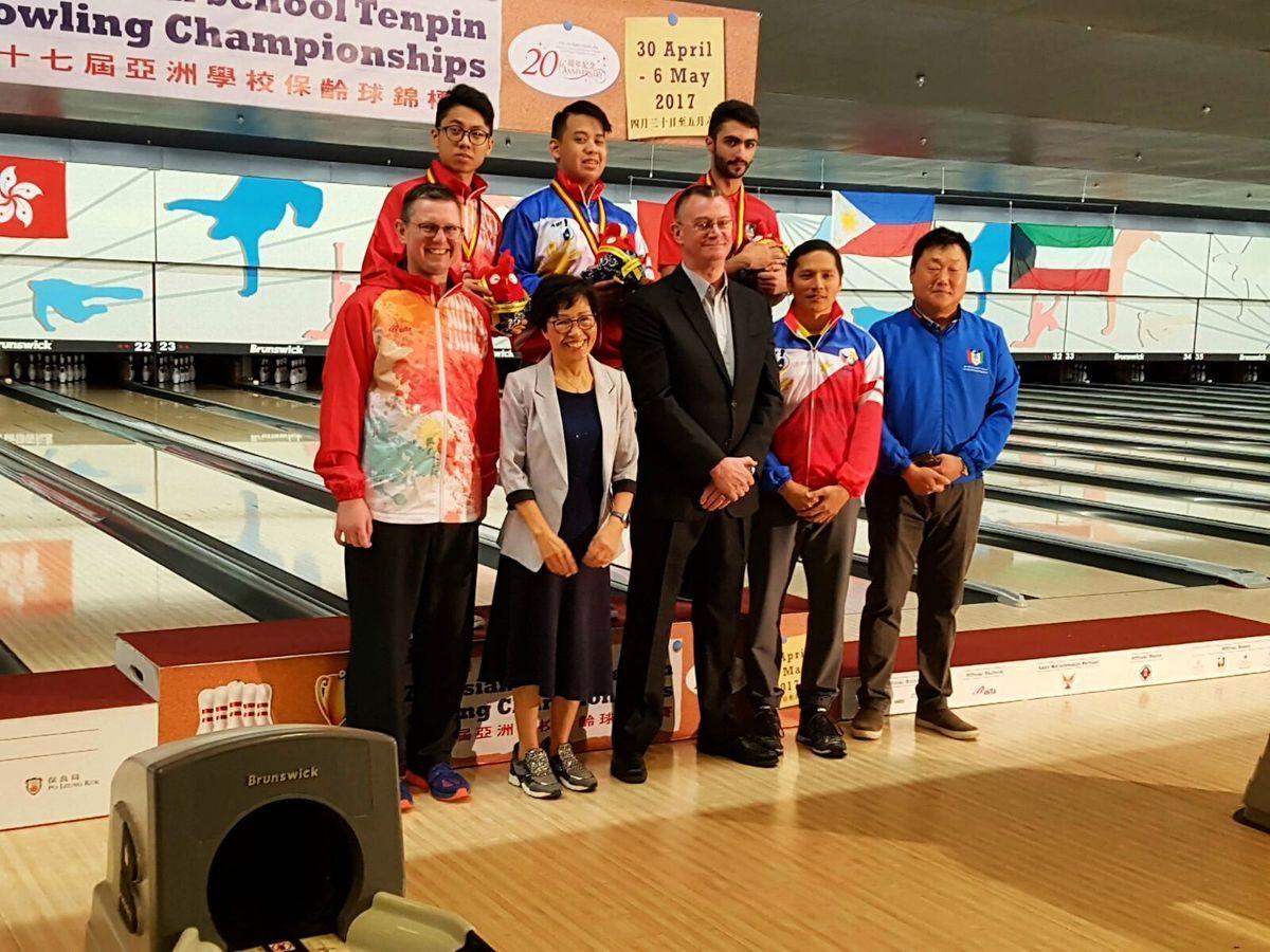 在4月30日至5月6日於南華會保齡球場舉辦的第17屆亞洲學校保齡球錦標賽中,香港隊共派出8名代表,分別參加單子單打及團體賽。(由香港保齡球總會提供)