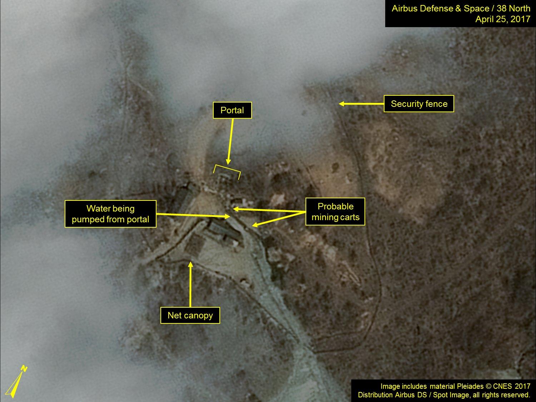 北韓豐溪里核試驗場衛星地圖(來源:38 North)