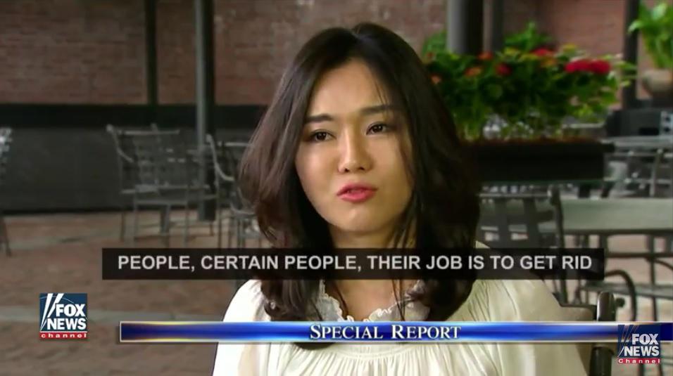 知名女脫北者李晛瑞(如圖)說,當她聽到特朗普說要對抗北韓金氏邪惡政權時,不禁澘然淚下,因為這是70年來第一次聽到外國總統這麼說。(FOX新聞視像擷圖)