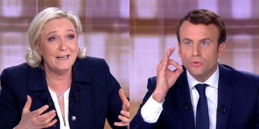 5月3日法國大選候選人瑪琳勒龐和馬克龍舉行電視直播辯論。(AFP PHOTO/STRINGER)